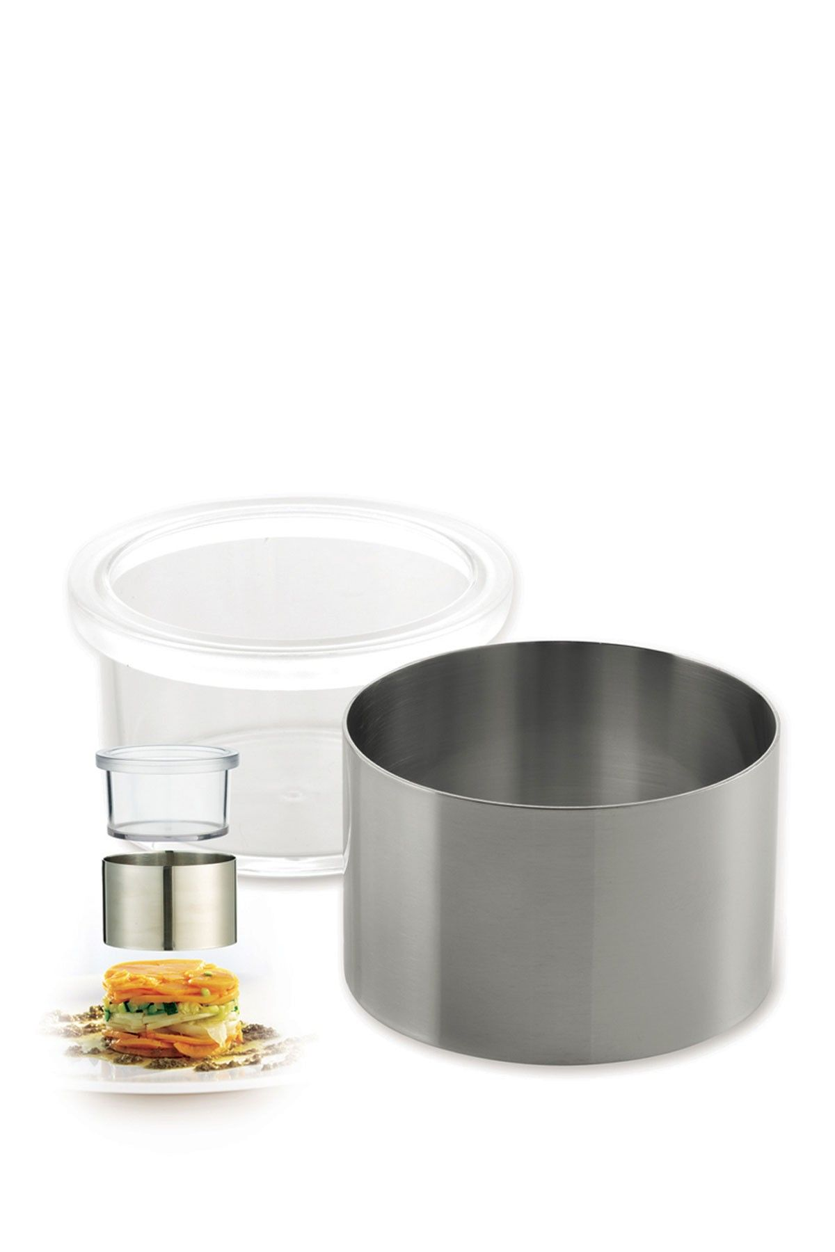 T.K. Stainless Steel Food Ring & Pusher