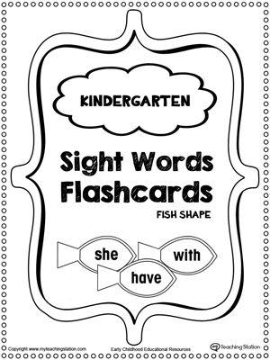 Preschool and Kindergarten Worksheets | Words | Sight word
