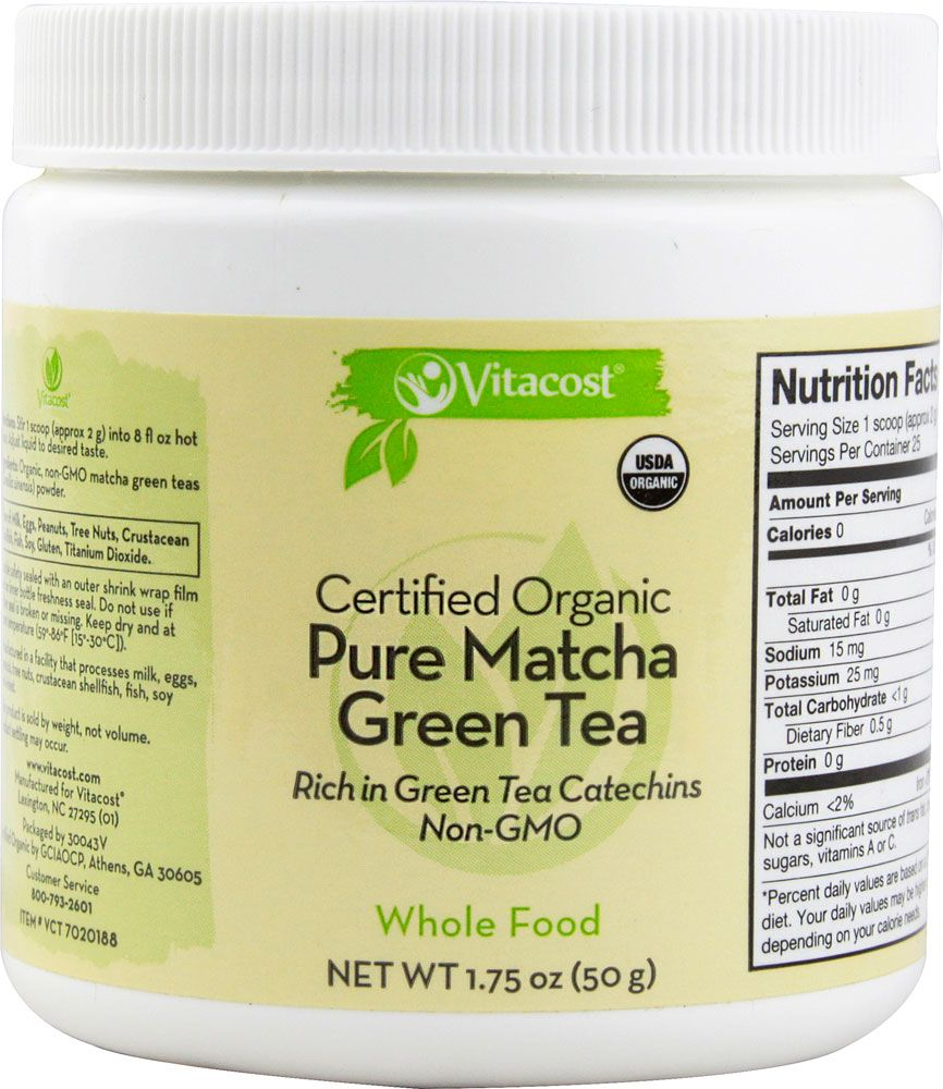 Vitacost Whole Food Certified Organic Pure Matcha Green Tea - Non-GMO