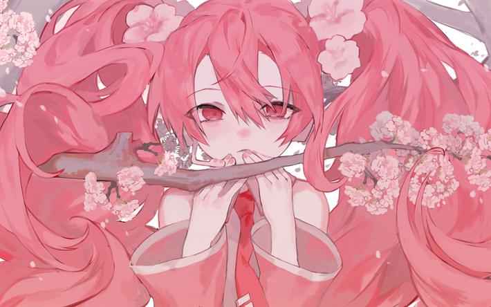 Download Wallpapers Sakura Miku 4k Pink Hair Artwork Manga Vocaloid Aesthetic Anime Pink Hair Anime Hatsune Miku