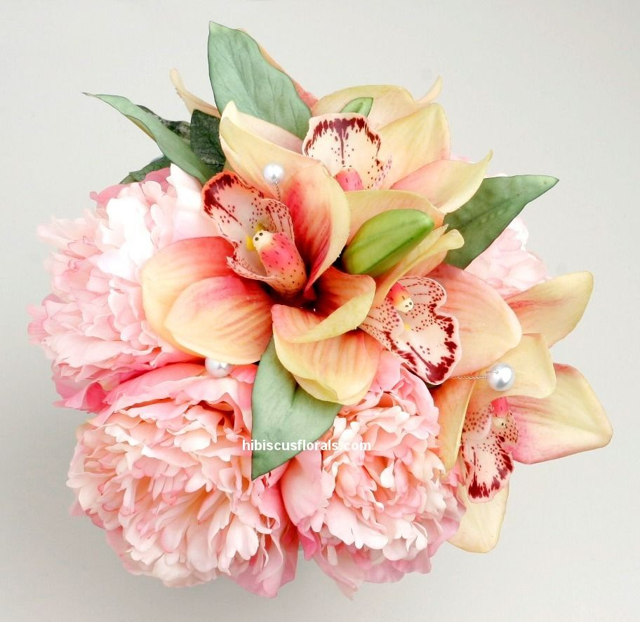 Pink cymbidium orchids u peonies real touch bridesmaidus bouquet