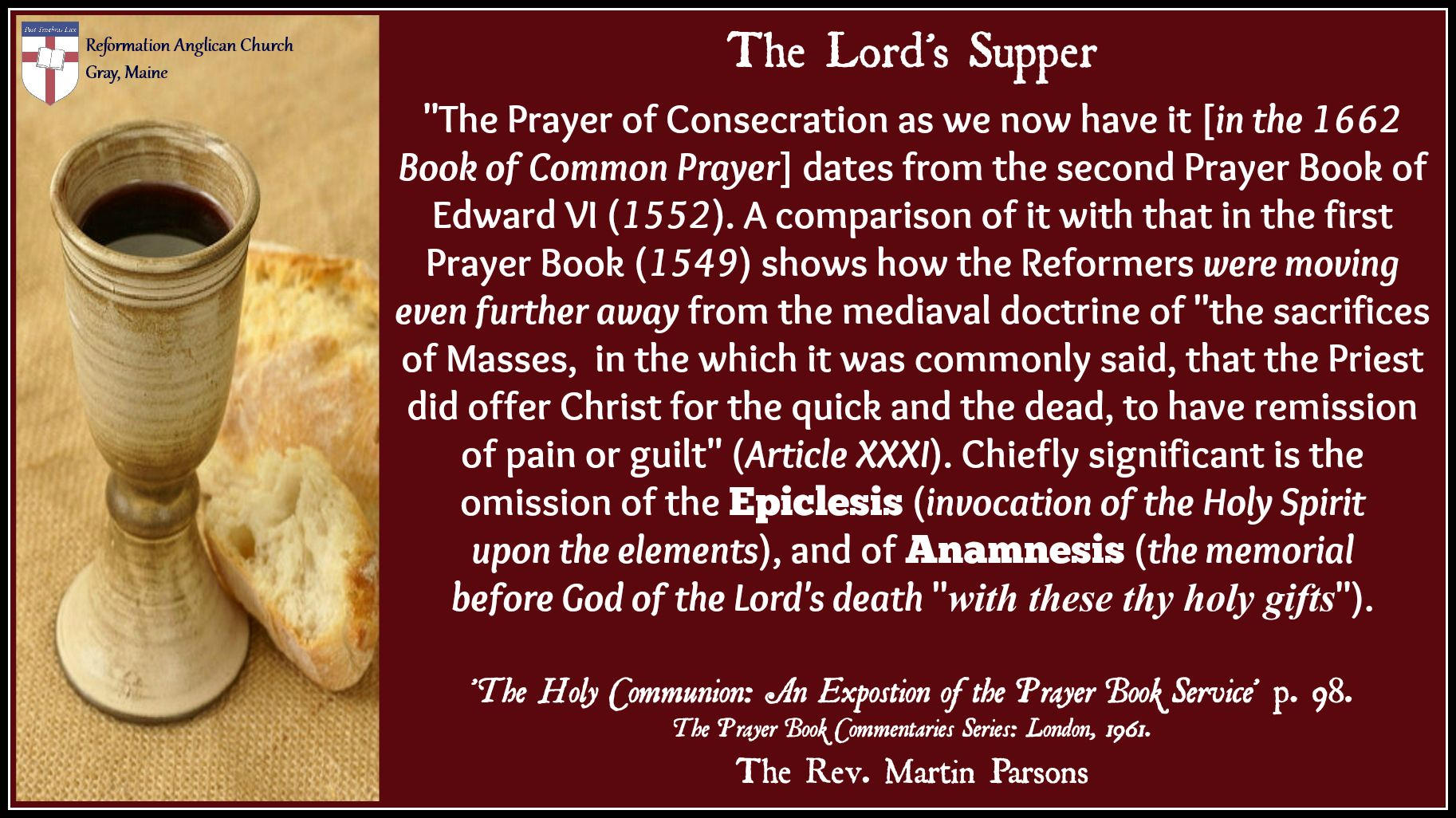 The Prayer Of Consecration In The Lord S Supper Lords Supper