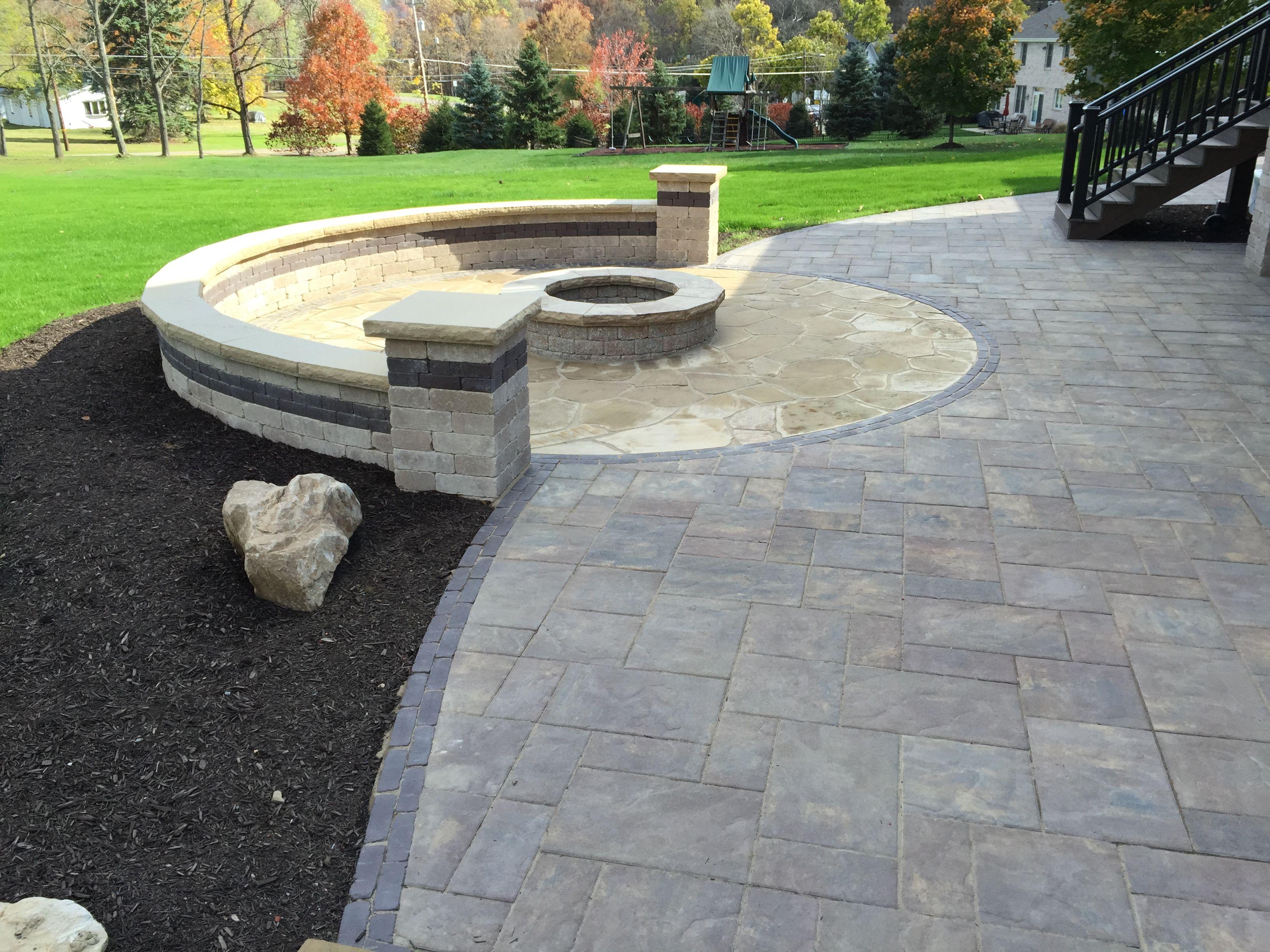 Unilock patio and fire pit | Patio, Dream backyard, Backyard on Unilock Patio Ideas id=28639