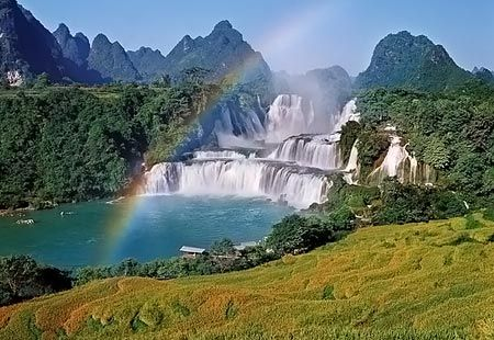 Ban Gioc or Detian Falls is the largest waterfall in Asia and the fourth largest waterfall along a national border in the world