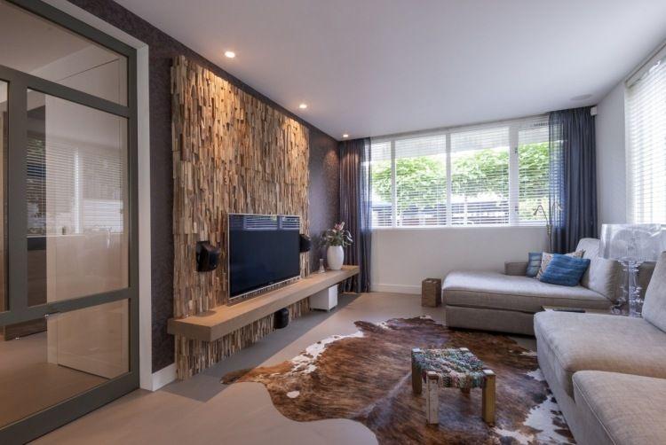 holz wandverkleidung mit 3d effekt im wohnzimmer | inside ... - Interior Design Wohnzimmer Modern