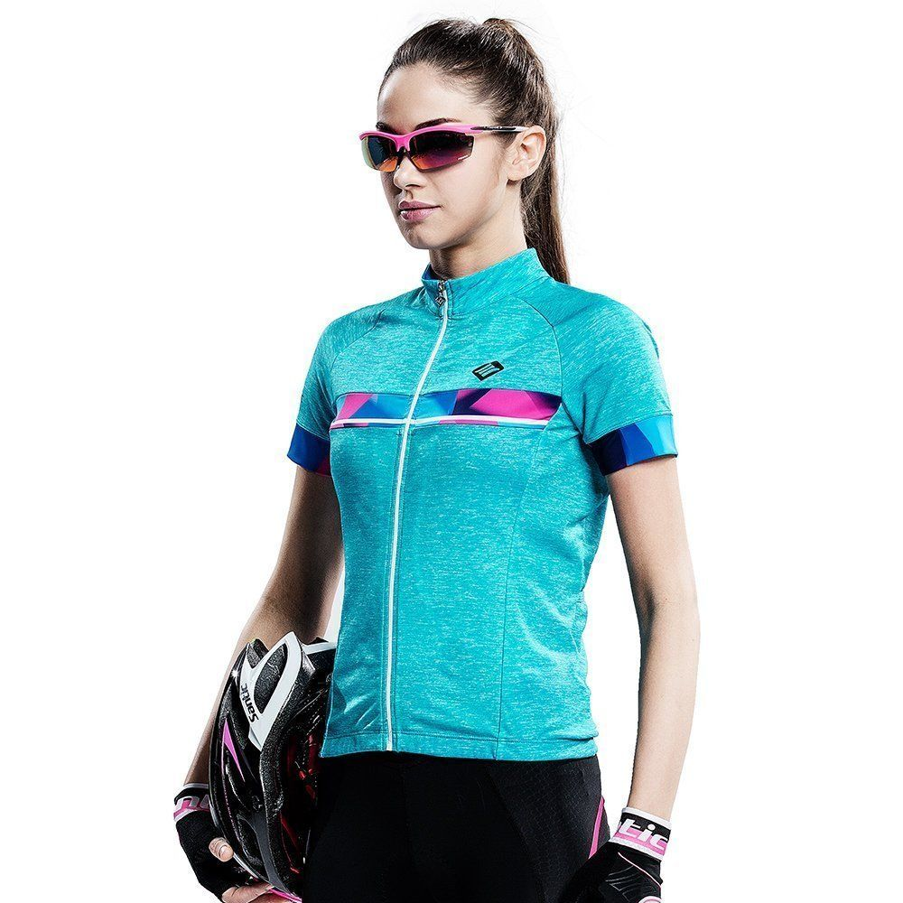 9b44f7d0b Santic Women s Cycling Jersey Short Sleeve Wicking Fabric Blue M. NOTICE   ALL the sizes we have are ASIAN SIZE. Size Table is only for reference