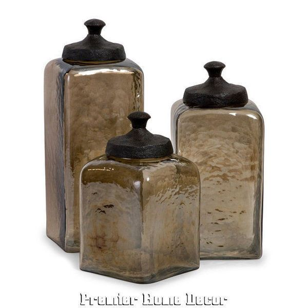 Old World Tuscan Designed St/3 Square Brown Luster Glass Canisters - Premier Home Decor