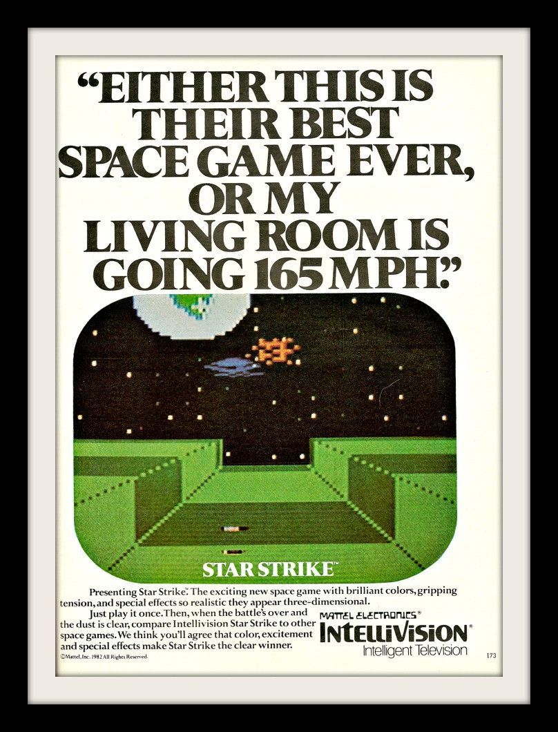 VINTAGE ADVERTISEMENT 1982 MATTEL INTELLIVISION Video Game System STAR STRIKE