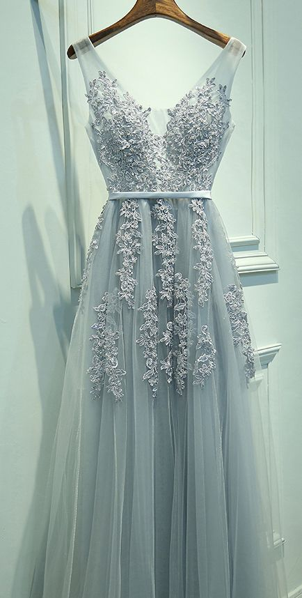 Blue Gray Prom Dress