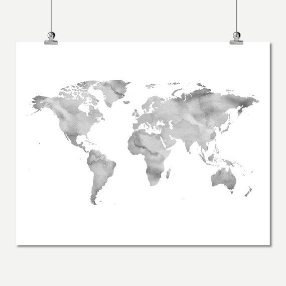 gray wall art watercolor world map neutral color printable world map of the world wall decor digital print instant download world map poster