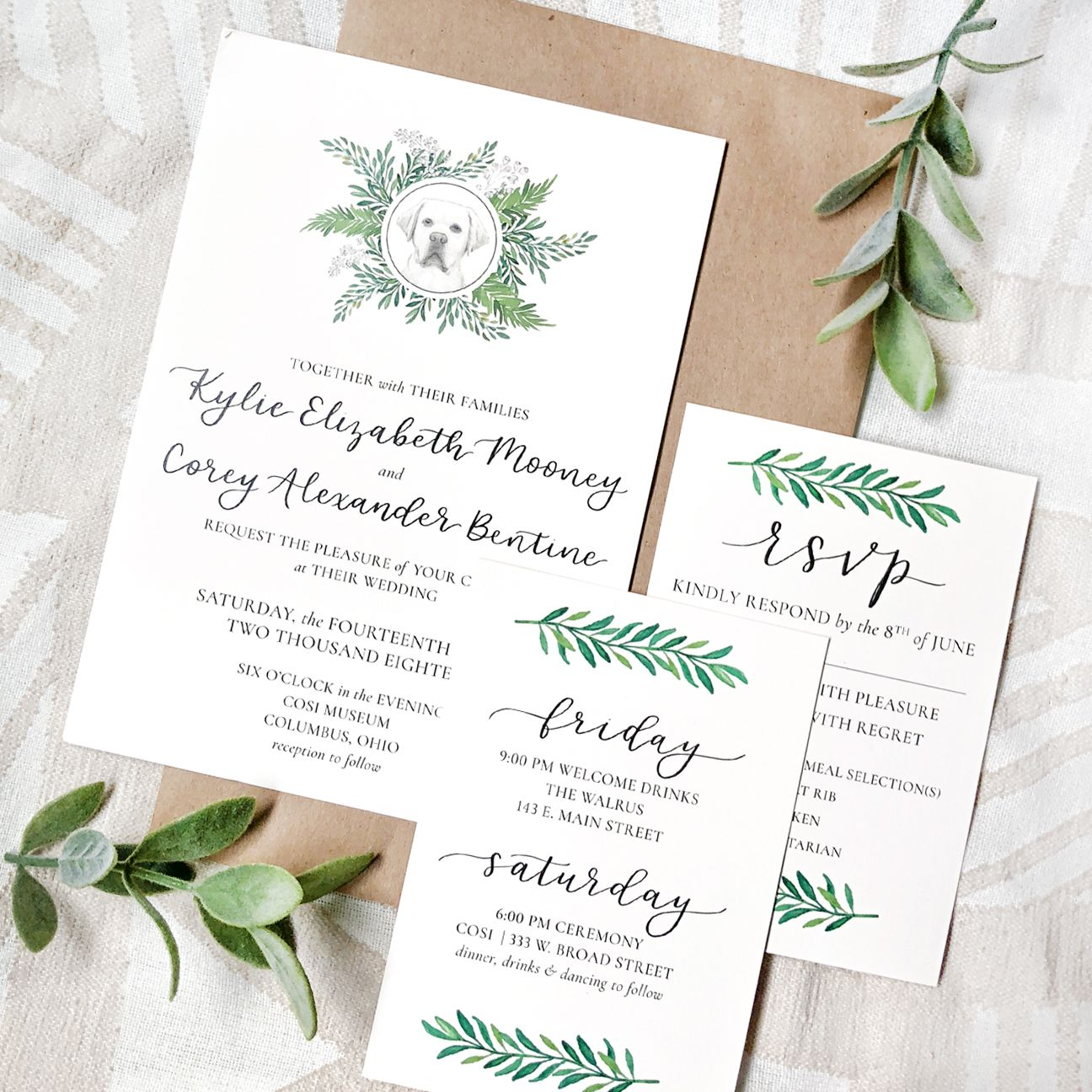 Greenery Leaves Dog Wedding Invitation Suite, Classic
