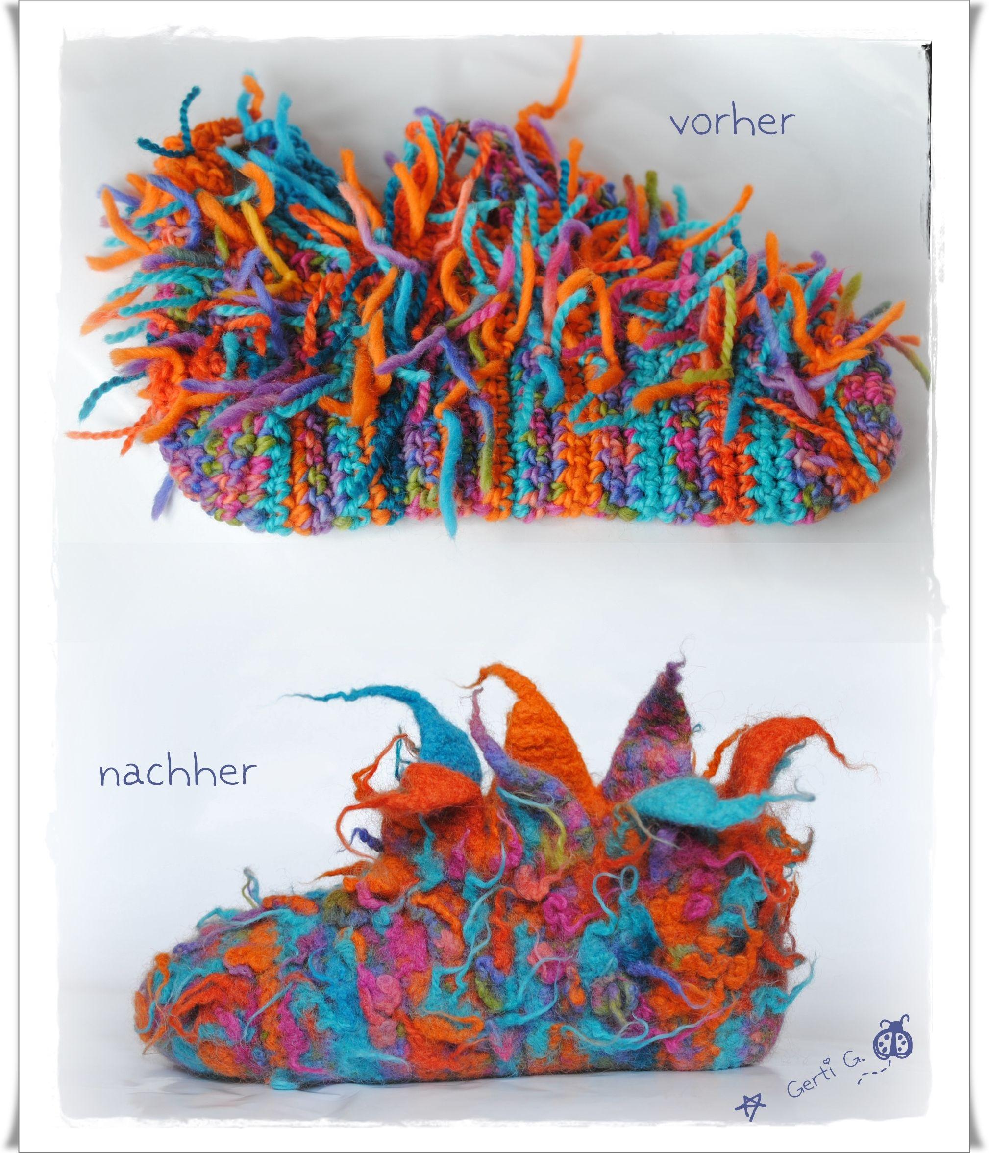 VORHER-NACHHER - Bild: Wild bezipfelte Schluppys - gehäkelt und bei 60° in der Waschmaschine g.filzt. ;-) Design: Gerti G. ♥