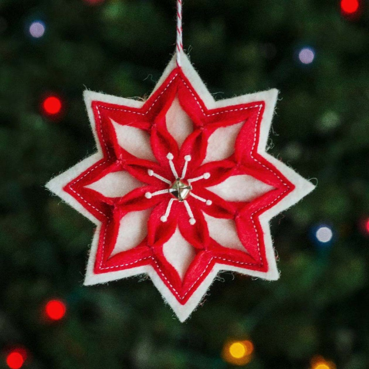 Snow Star Ornament Pattern Betz White Ornament Tutorial Star Ornament Felt Ornaments