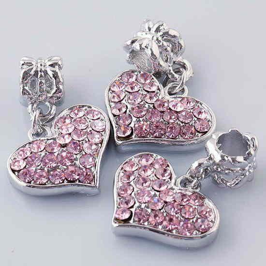 GIN for QUALITY ♥ Pink Encrusted Rhinestone ♥ Heart Euro Charm ~ w/ GIN Bonus Charms ~FREE US Ship~