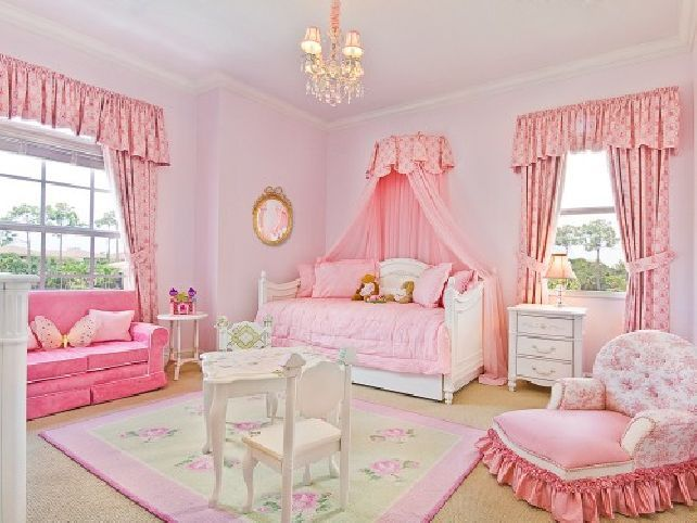 Sweet color themes little girl princess room ideas with cute sofa and armchair with tassel and - Cute toddler girl room ideas ...