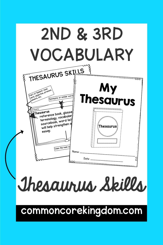 Thesaurus Skills Student Dictionary Template Help Teaching Vocabulary