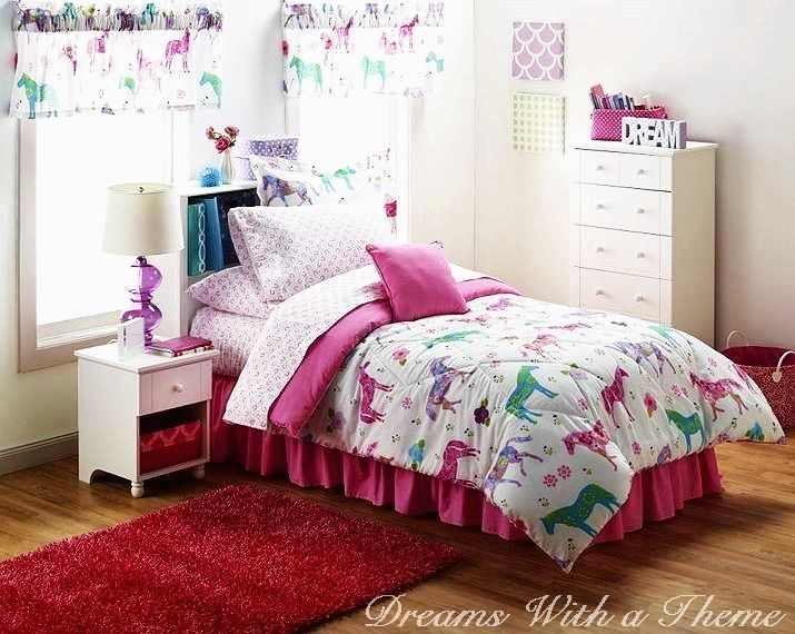 Girl Pink Floral Western Farm Pony Horse 9-11pc Comforter Sheet Set Val Curtains
