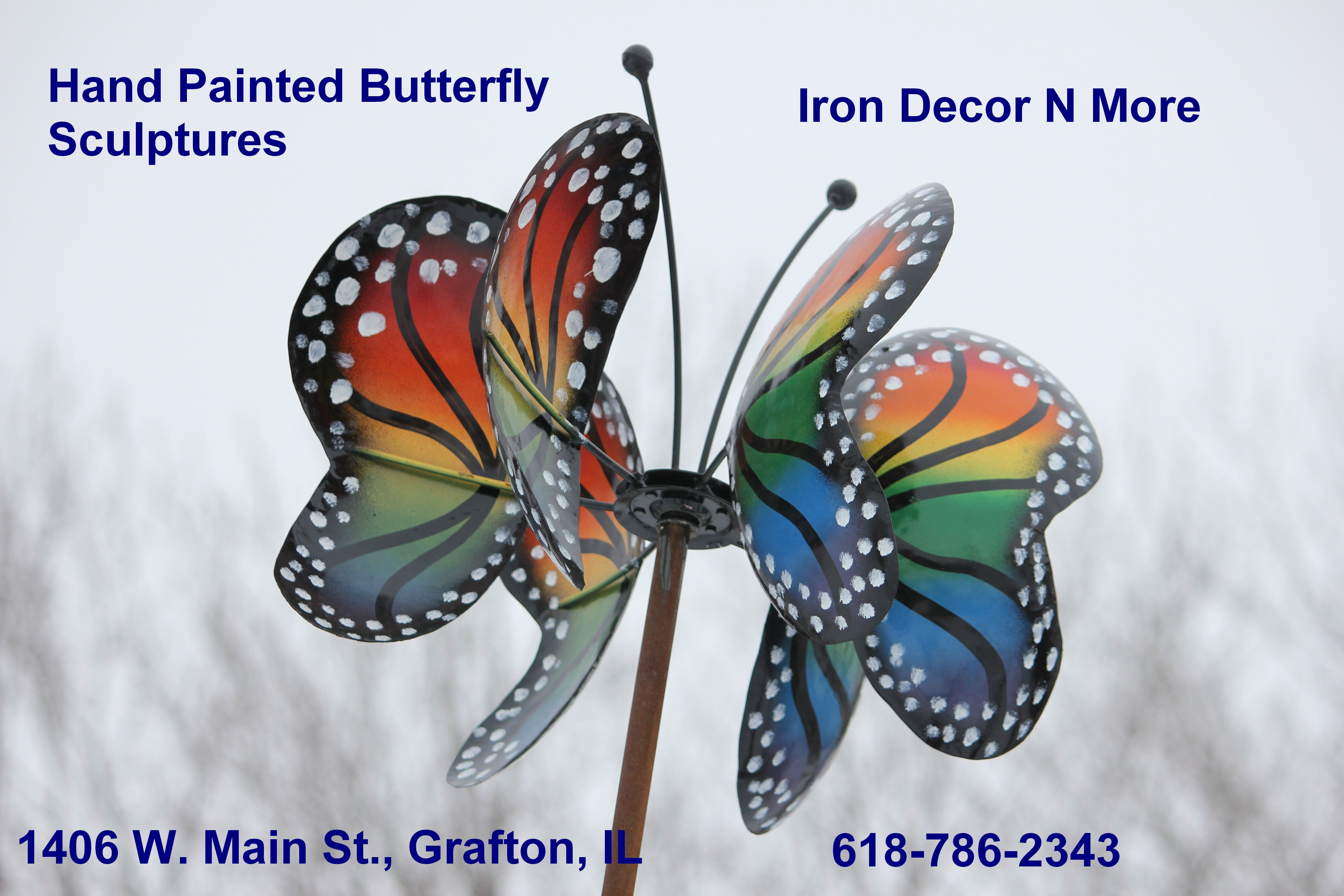 Hand Painted Erfly Sculptures Iron Décor N More Grafton Il 618 786