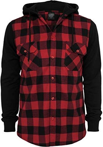 Photo of Amazing offer on Urban Classics Men's TB513 Hooded Checked Flannel Sweat Sleeve Shirt online – Buytopbrands