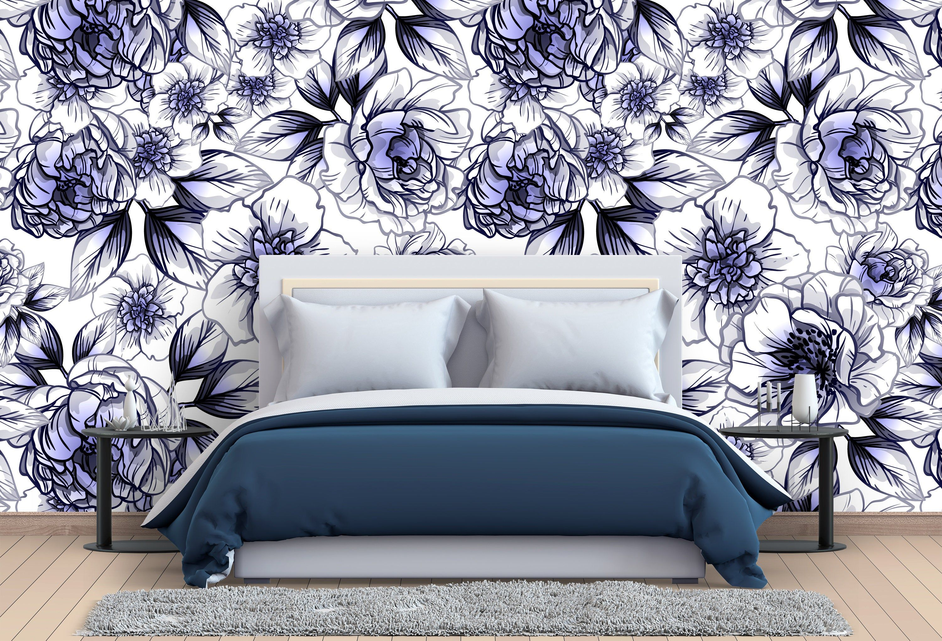 Removable Wallpaper Purple Hand Drawn Peonies Peel and
