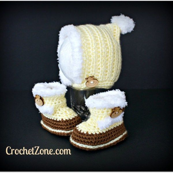 Fuzzy Bonnet & Bootie Crochet Pattern Set by Crochet Zone