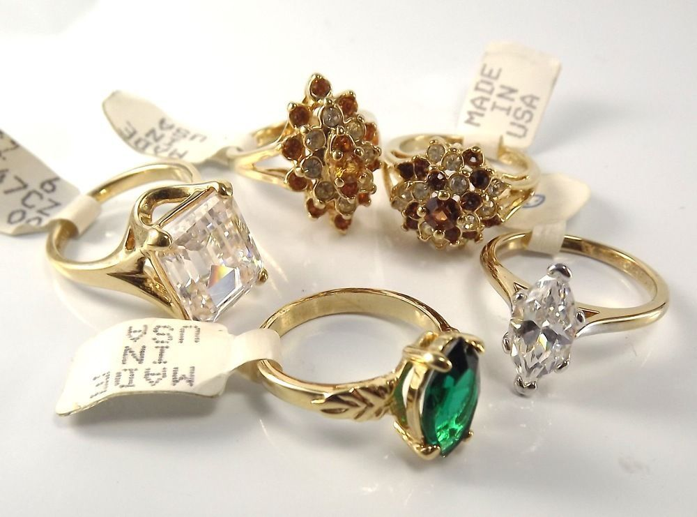 18K Goldplated rings vintage lot of 5 , Size 6, USA made, CZs, marked,(LotM59)NR #AmericanRing #Variety