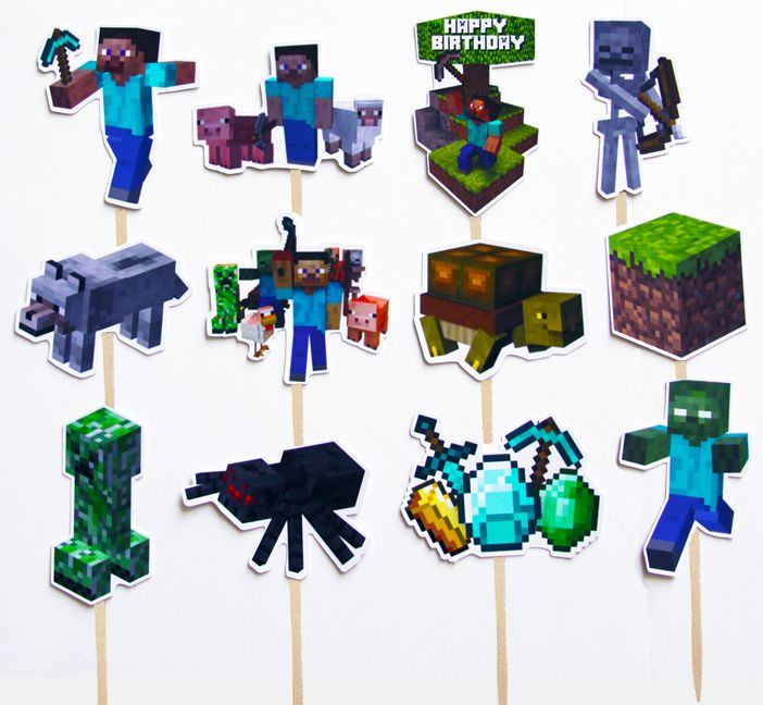 Diy Printable Minecraft Cupcake Picks Cake Toppers Birthday Party