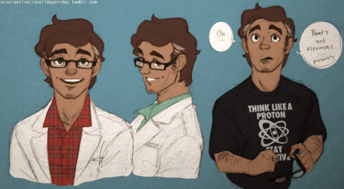 """Carlos the scientist. Drawings from Tumblr. Look at his shirt! """"Think like a proton. Stay positive."""""""
