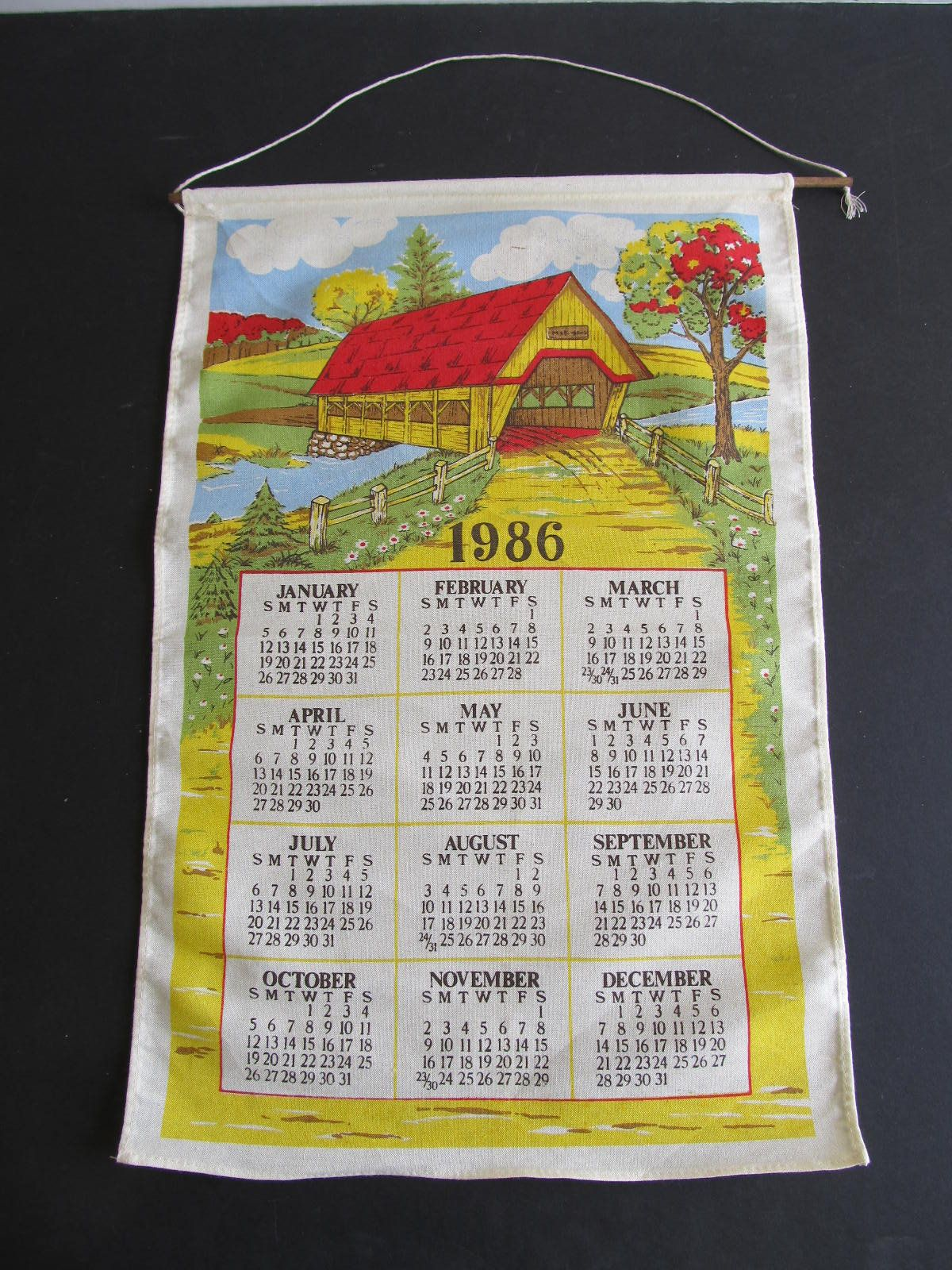 Covered Bridges Fabric Calendars 1986 1986 Wall Calendars 1986