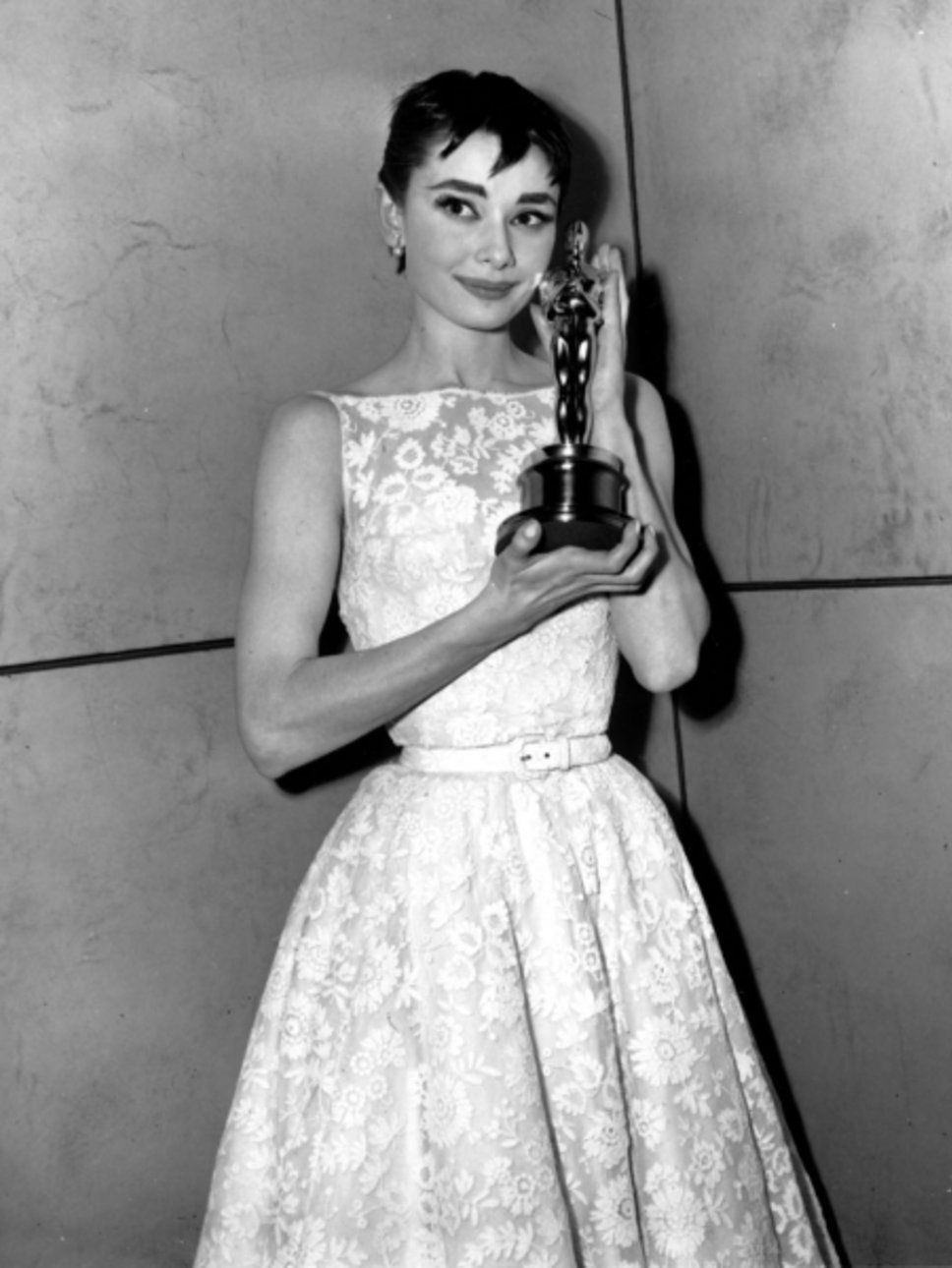 6132f746c805 Audrey Hepburn wore Givenchy the night she won an Oscar for Best Actress in  the film Roman Holiday, 1954