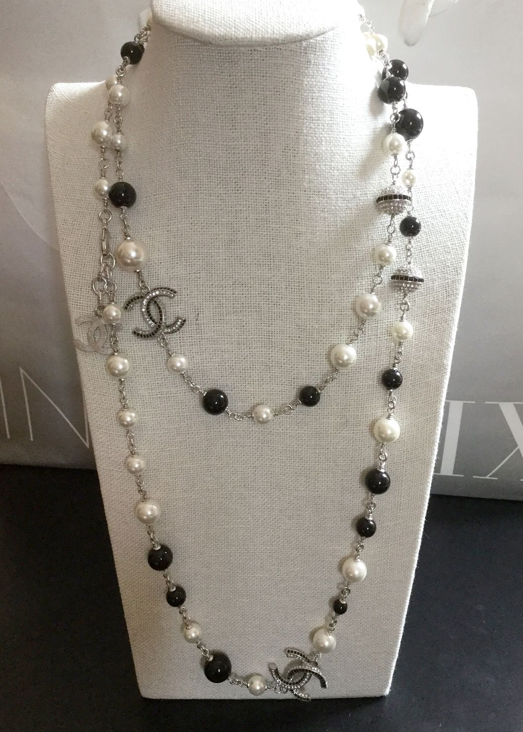 7ee2709d4e648e Fabulous CHANEL CC Necklace Black & White Pearl Crystal Ball Silver Metal  Chain Classic
