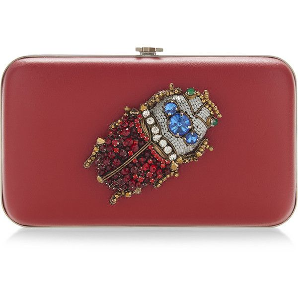 Rochas Borsa Brooch Clutch (30.090 ARS) ❤ liked on Polyvore featuring bags, handbags, clutches, multi color purse, chain strap purse, multicolor handbags, multi color handbag and colorful handbags