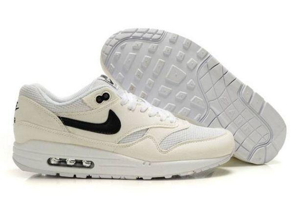 hot sale online 70538 eaa23 Cheap Nike Air Max 1 Mens Running Shoes Beige White Black UK Sale
