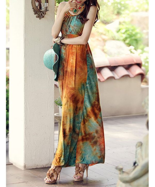 Look at this Brown & Teal Tie-Dye Maxi Dress on #zulily today!
