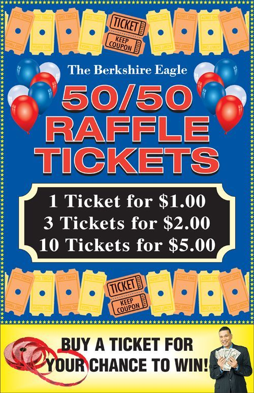 50 50 raffle sign  with images