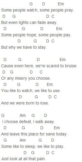 My Chemical Romance Fake Your Death Chords I Thought It Was