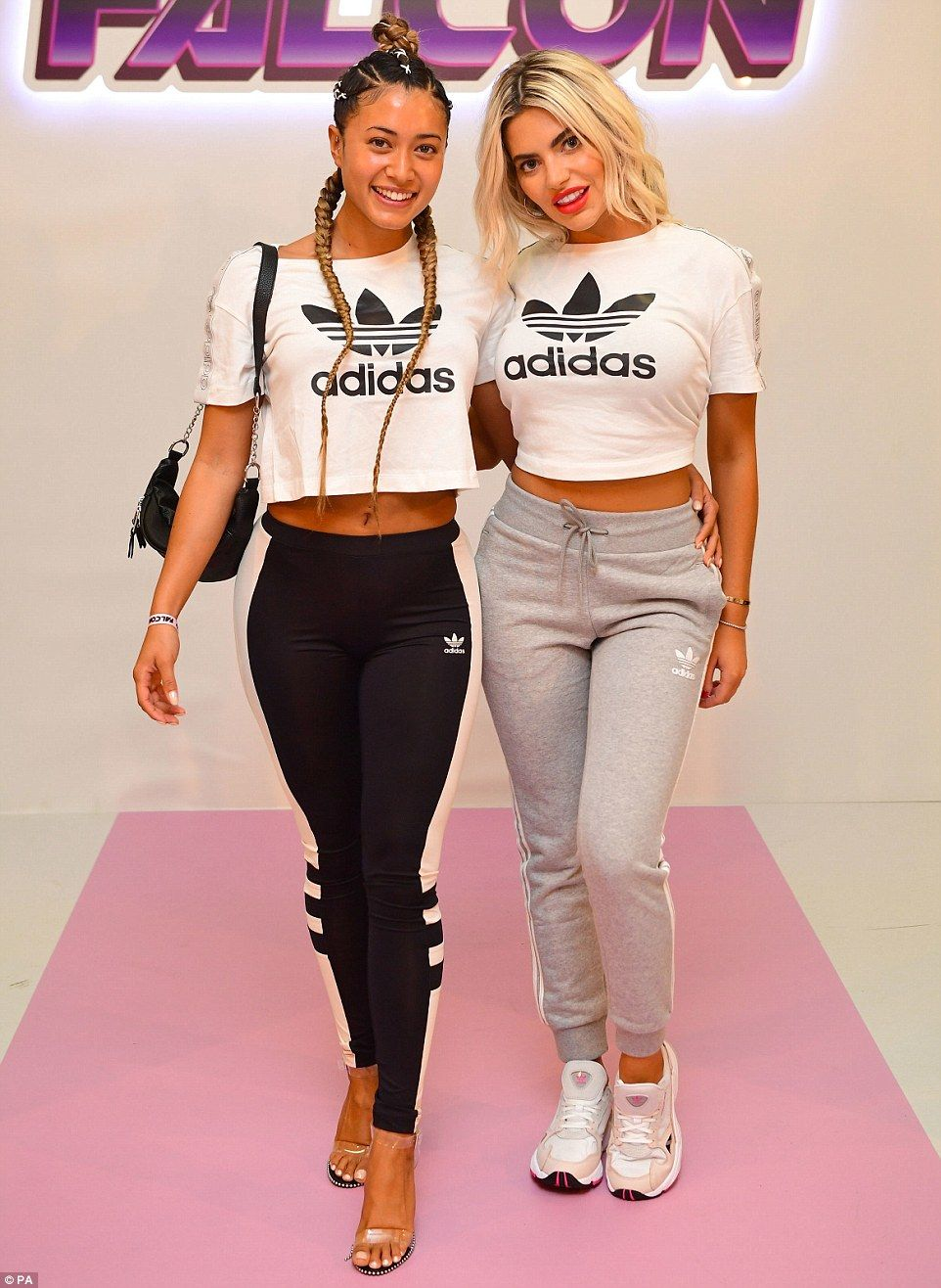 2d756f535365 Pals: The fashion event also proved to be a Love Island reunion of sorts,  as Megan Barton Hanson and Kaz Crossley - with the same branded t-shirt -  posed ...