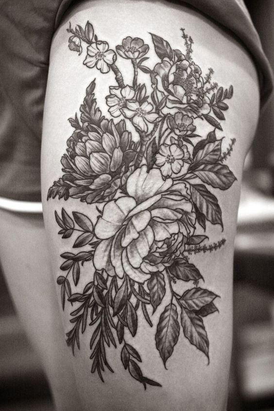 Coolest Black Floral And Flower Tattoo Design On Thigh: | Tattoos ...