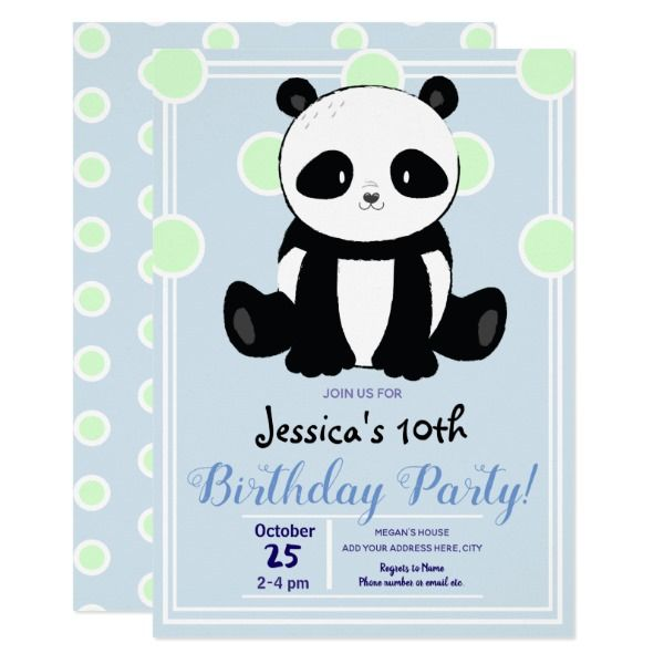 Panda And Blue Polka Dots Birthday Party Invitation Ideas Invitations Gifts