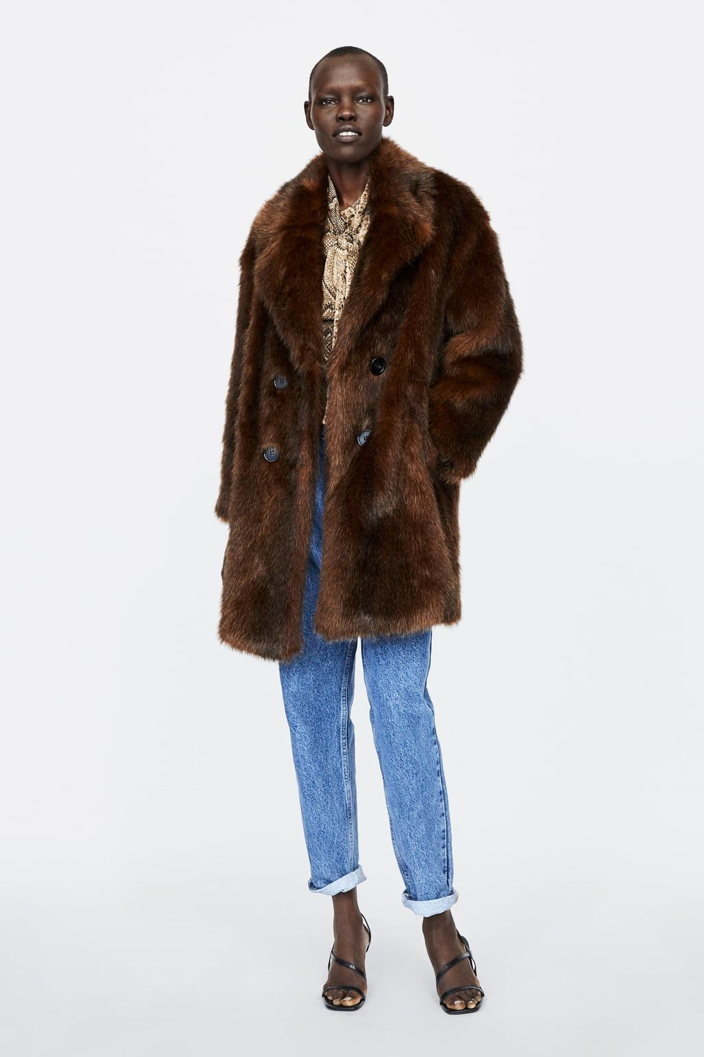 Zara Fur From Of Image Double Coat Breasted 1 Faux IvYg6fb7y