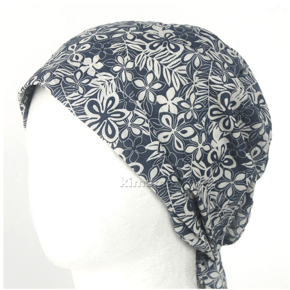 f69ff05feb3 Details about Summer womens Bandana Do-rag BEANIE hat Cotton Du-rag chemo  cap BAN Blue white