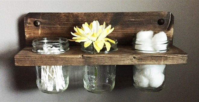 Mason Jar Shelf Mason Jars Included Mason Jar Diy Mason Jar Shelf Mason Jar Crafts Diy