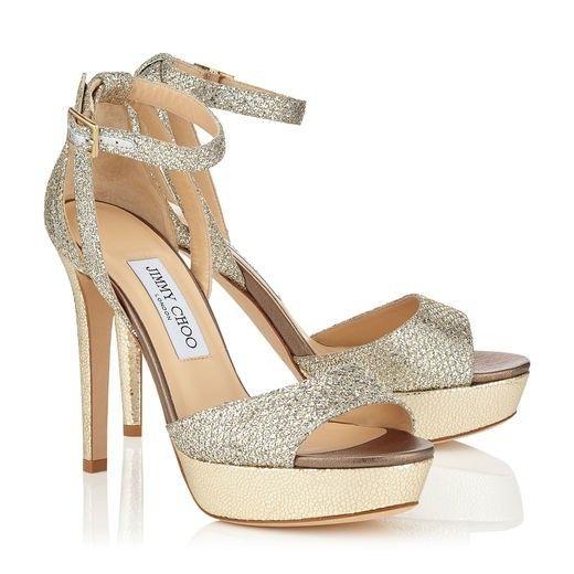 debbfafa396d Jimmy Choo Kayden Champagne Glitter Fabric Platform  Sandals  Women  style