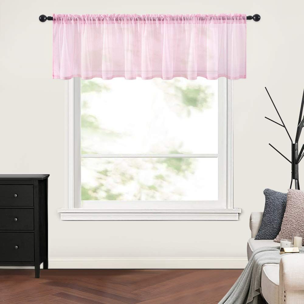 MIULEE Baby Pink Sheer Curtain Valance Linen Textured For