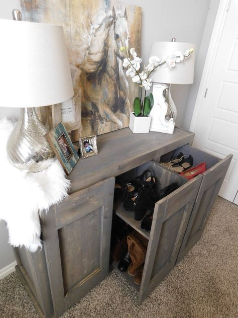 Step by step how to guide to build this Radley Hidden Shoe Cabinet - Free Plans u2013 HandmadeHaven & Hidden Shoe Cabinet | Pinterest | Storage ideas Wardrobe ...