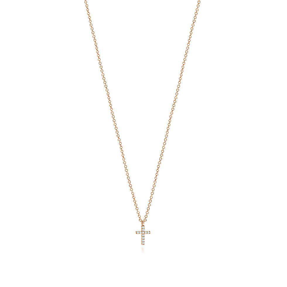 e694af8cb Tiffany Metro cross pendant in 18k rose gold with diamonds, mini. | Tiffany  & Co.