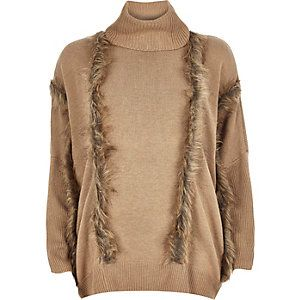 2d871d48edc Brown knitted faux fur trim polo neck jumper