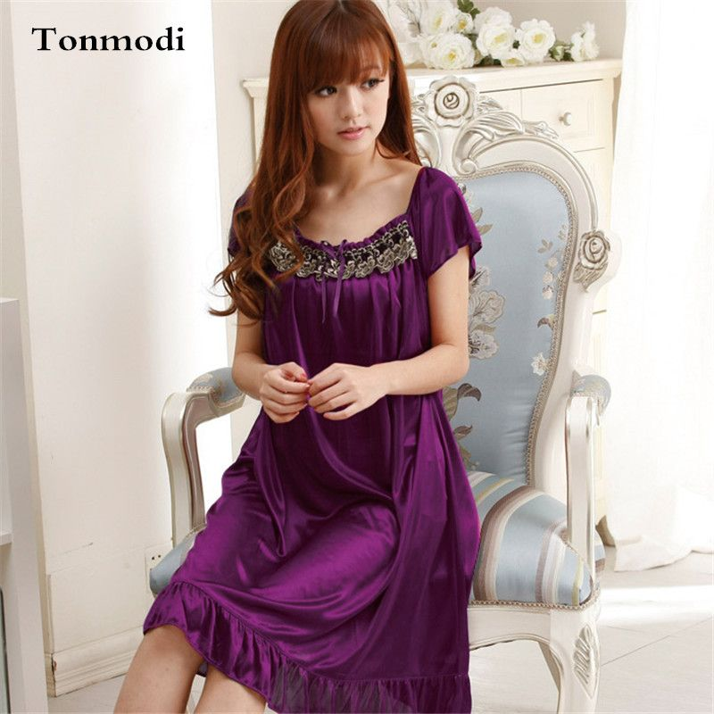 Enteros Long Lace Nightgown Women Summer Purple Embroidery Women\'s ...