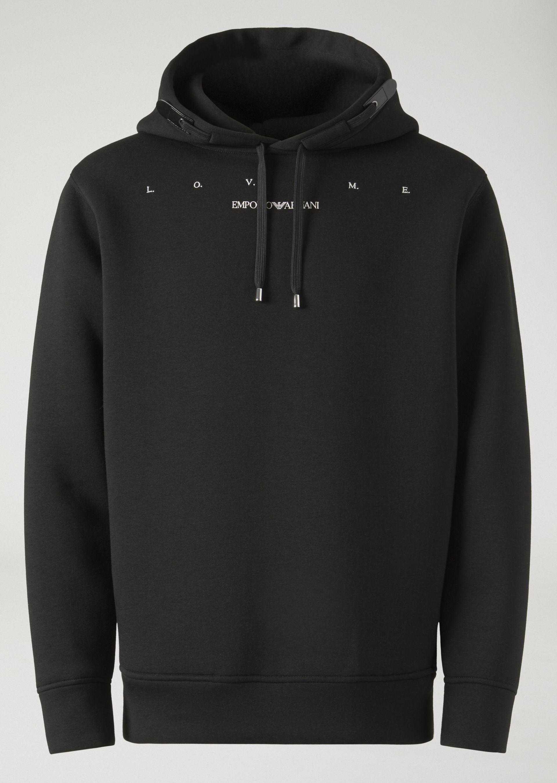 Download Emporio Armani Love Me Sweatshirt In Lightweight Scuba Fabric Black M Armani Sweatshirt Scuba Fabric Armani Hoodie
