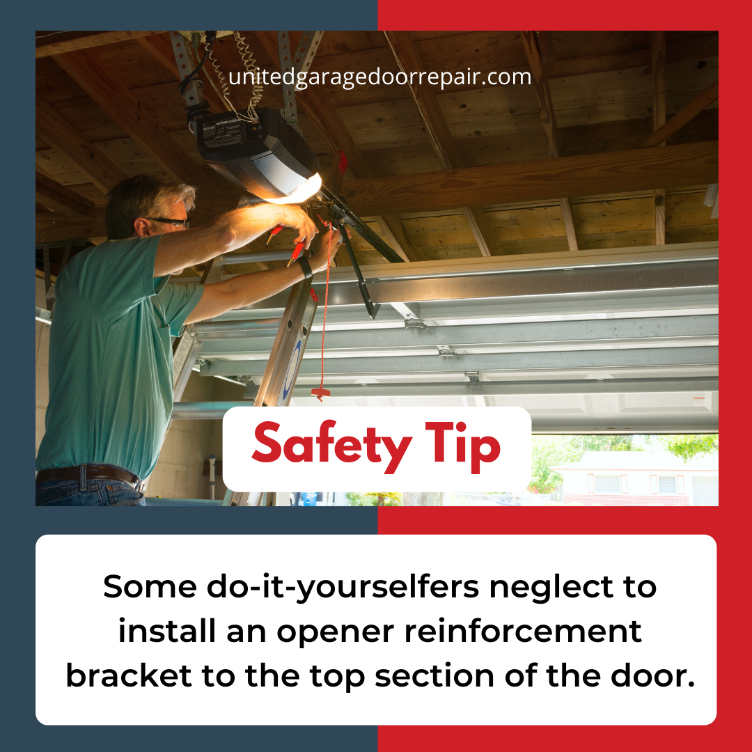 Failure To Do So Can Damage Your Door Do Ityourselfers Should Check The Installation Manual For Specific Instruct In 2020 Garage Doors Garage Service Door Safety Tips